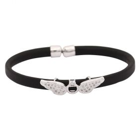 Bracelet Leather - Cubic Zircon - Silver Metal  Angel Wings- Dark Blue