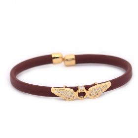 Bracelet Leather - Cubic Zircon - Golden Metal  Angel Wings- Brown