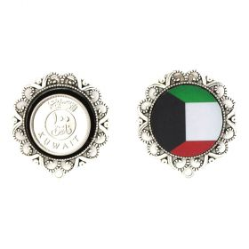 Ralouch Design Earrings - Kuwait Flag and 100 Fils Coin