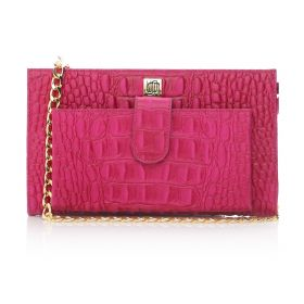 Crocodile Printed Cow Leather Clutch Bag with Golden Chain Strap - Fushia