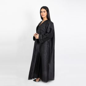 Abaya Chinese Cut with White Stripes - Black-Large