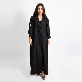 Abaya Cut with White Back - Black & White-Large