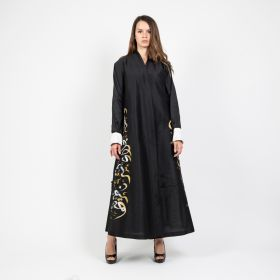 Abaya Chinese Cut Tight Sleeve and Arabic Hand Crafted Paint  - Black & Grey-Large