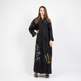 Abaya Sport Cut with Arabic Hand Crafted Paint  - Black-Medium