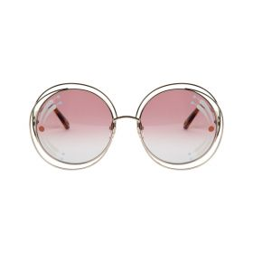 Chloe - Round CARLINA Burgundy Gradient & Gold Sunglasses