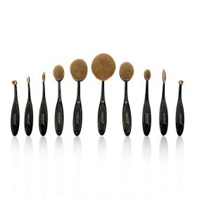 Oval Makeup Brushes Set - 10 Pcs