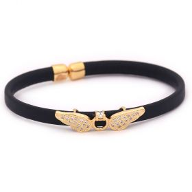 Bracelet Leather - Cubic Zircon - Golden Metal  Angel Wings- Dark Blue