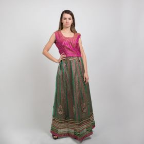 Dar Alzain2018 - 2 Piece Sari Dress with Purple Top and Green Net Embroidered Skirt