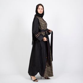 ar Alliwa - Elegant Black Abaya - Length 57 inch