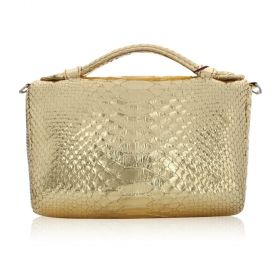 Quirkyblings - The Salma Python Skin & Zipper Cross Body Bag - Gold