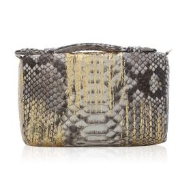 Quirkyblings - The Salma Python Skin & Zipper Cross Body Bag - Metallic Gold