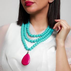 Haneen Boutique - 3 Layer Women Necklace - Baby Bleu with Pink