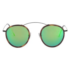 Met-Ro 2 Round Green Mirror & Black/Havana Sunglasses