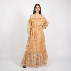 Roudha Style - Off Shoulder Peach Cotton Daraa