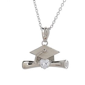 Venus- Graduation Collection - Rhodium Plated Necklace with an Oxford Cap and Certificate Pendant
