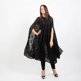 Cape Dress with Button- Black- Free Size