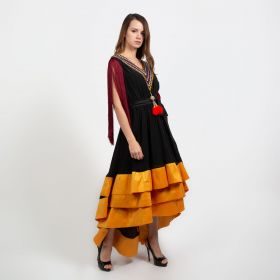 Ghadeer Albarjas - Black Sadu Flow Dress with Golden Yellow Ruffles and Crystal with Black Fabric Belt