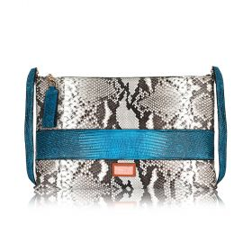 Lele Clutch - Grey & Blue Python skin