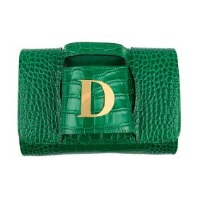 Haidi - Casual Green Leather Clutch Bag - with a Gold Plated Letter D