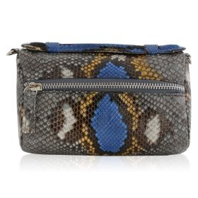 Quirkyblings - The Salma Python Skin & Zipper Cross Body Bag - Natural Cobalt Motif