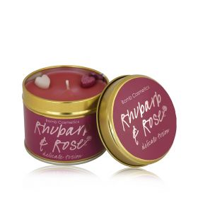 Rhubarb & Rose - tin candle