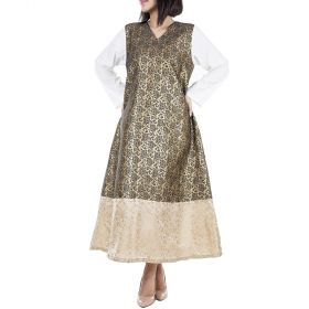 Vei Vogue - A Set of Gold and Green Dresses With White Sleeves For Mother and Child - (Size Medium & 1 year)