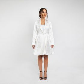 Blazer Dress With Tuxedo Collar - White