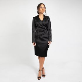 Asymmetrical Cut Blazer With Waistband Skirt - Black