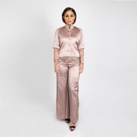 High Collar Blazer With Lace Top And Flared Pants - Nude