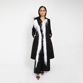 Jersey Coat With Feather - Black - Medium/Large