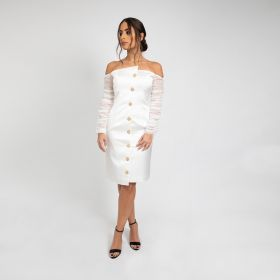 Asymmetrical Cut Buttoned Dress With Pleated Sleeves - White