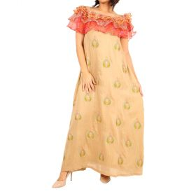 Jute - Beige Off Shoulder Daraa With Red Frills And A Paisley Design