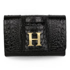 Sac Studio - Haidi Casual Black Leather Clutch Bag with a Gold Plated Letter H