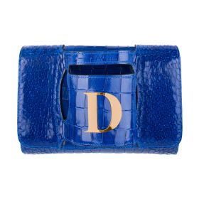 Haidi - Casual Blue Leather Clutch Bag - with a Gold Plated Letter D