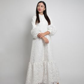 Offwhite Embroided Fabric Dress with puff sleeves - Small
