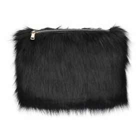 Fur Clutch Bag - Black