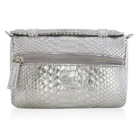 Quirkyblings - The Salma Python Skin & Zipper Cross Body Bag - Metallic Silver