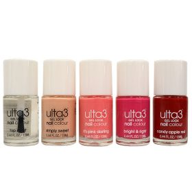 Ulta3 Nail Polish Collection ( Top Coat + Simply Sweet + It's Pink Darling + Bright & Right + Candy Apple Red ) - N 01