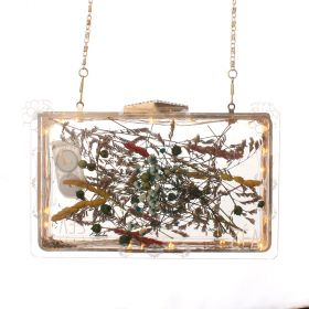 Acrylic Unique Laminated Clutch Inlaid With Delicate Dried Flowers  - 21*12*7
