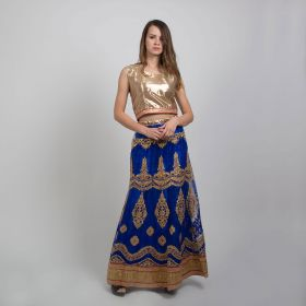 Dar Alzain2018 - 2 Piece Sari Dress with Golden Top and Navy Blue Net Embroidered Skirt