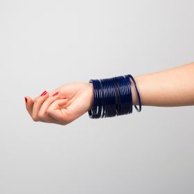 Thorns_gcc - Navy Blue Acrylic Bangles Set ( 20 Pieces ) - Size 2.8 Inch