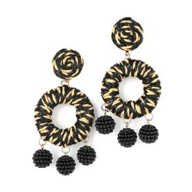 Black/Beige Bambo Earrings