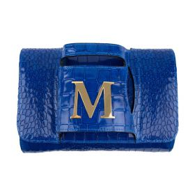 Haidi - Casual Blue Leather Clutch Bag - with a Gold Plated Letter M