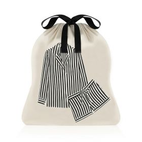 Large Organizer Striped Pajama Bag - Black/White