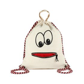 Zipper Mouth With Tricolor strap - Backpack - Black/White