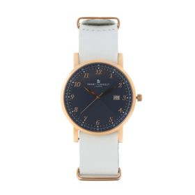 Savant Watch With White Genuine Leather Strap