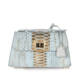 Top Handle Structure Bag - Light Blue & gold