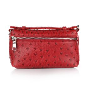 Ostrich Belt Bag - Dark Red