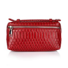 Python Clutch Bag - Dark Red