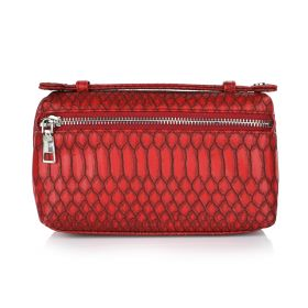 Python Clutch Bag - Wine Red